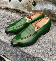 Handmade Men's Green Leather Slip Ons Loafer Shoes image 3