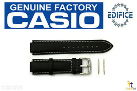 Casio Edifice EF-502L-7AV 15mm Original Schwarz Leder Uhr Band Armband EF-500L-1 - $32.65