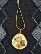 Natural Wood Slice Crystal Grid Pendant with 6 Stones - $18.95