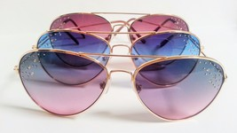 Aviator Sunglasses Colored Lenses Rhinestones Fashion Bling - £6.44 GBP