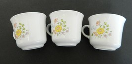 Corelle Three Flat Coffee Cups Meadow pattern by Corning USA Retired - $19.79