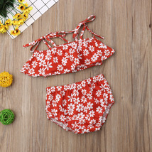 Toddler Baby Girl Clothes Summer 2019 Infant Girl Floral Ruffle Spaghetti Straps image 2