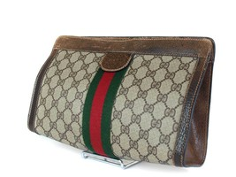 Authentic GUCCI GG Pattern PVC Canvas Leather Browns Clutch Bag GP1873 - £154.01 GBP