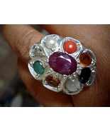 NINE GENUINE PRECIOUS GEMS STERLING RING NAVRATNA ser sss - $121.00