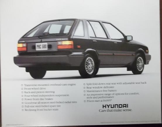 1986 Hyundai Excel Hatchback Brochure