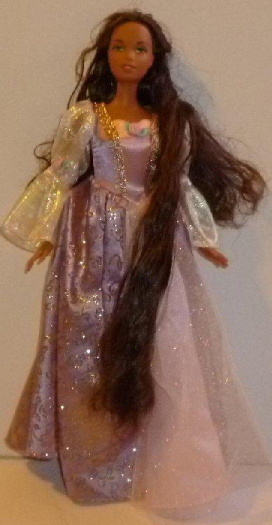 BARBIE AA black Doll as RAPUNZEL dressed fancy evening