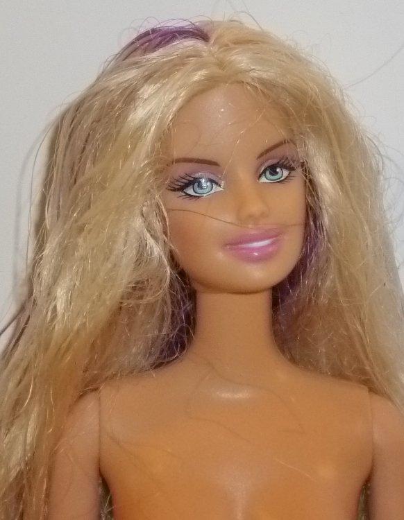 BARBIE Doll Nude for OOAK long blonde hair with purple streaks soft tummy