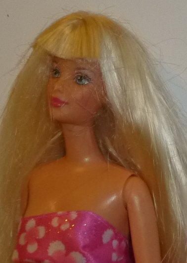 BARBIE Doll long blonde hair wearing flowery evening gown