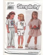 Simplicity Girls Skirt, Pants, Shorts and Top Sewing Pattern #9730 - $4.99
