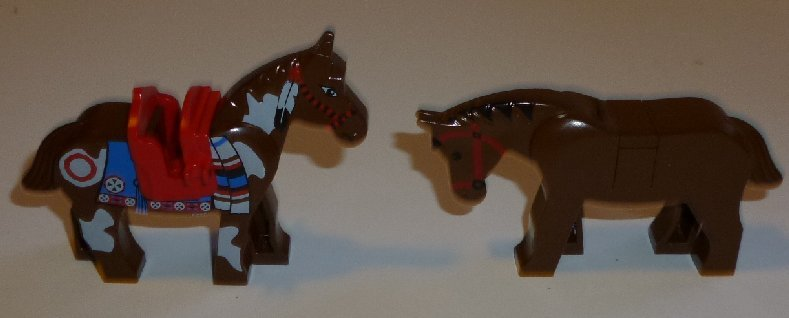 LEGO Parts Animal Lot of 2 brown HORSES, one is decorated