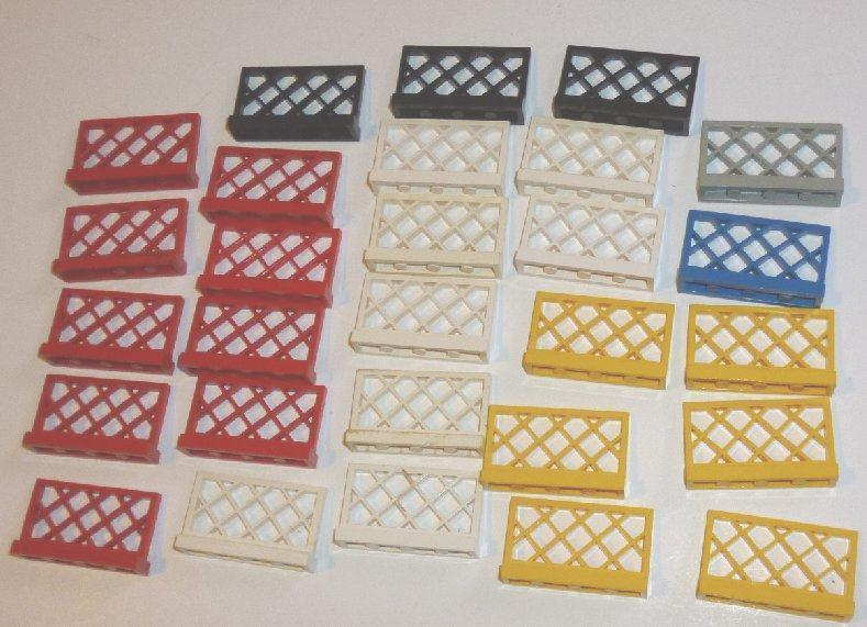 LEGO Parts Lot of 28 Lattice Fences 1x4x2 mixed colors