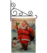 Joyful Santa Burlap - Impressions Decorative Metal Fansy Wall Bracket Garden Fla - $33.97