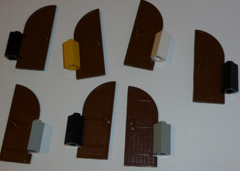 LEGO Parts lot of 7 Brown 1x3x6 with 1/4 Circle Top Castle DOORS