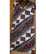 Vintage 70s MOD abstract white black & red sleeveless Dress - $49.99