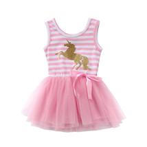 NWT Girls Gold Glitter Unicorn Pink Striped Sleevless Tutu Dress 2T 3T 4... - $10.99