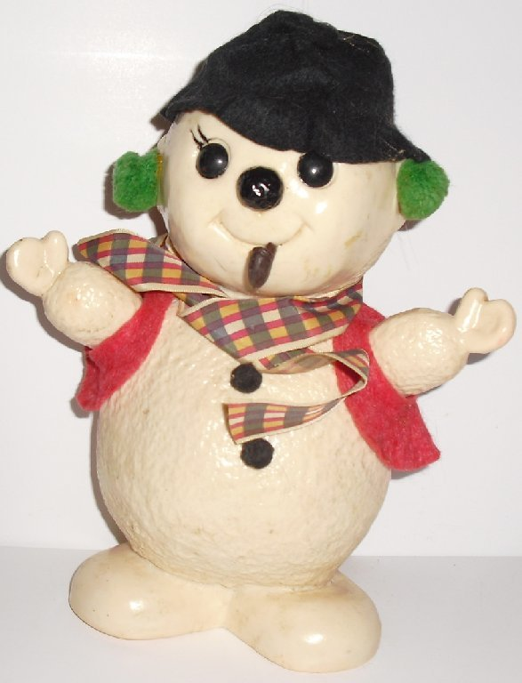 "Vintage SNOWMAN with pipe BANK 8.5"", 1975 Royalty Ind"