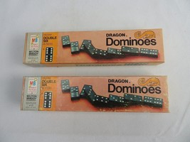 Vintage DRAGON Double Six Dragon Dominoes 28 Pieces Wooden 1970 MB - $20.00