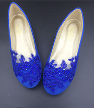 blue womens ballet flats,blue sequin ballet flats,blue childrens wedding shoes - $38.00