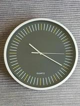 Wall Clock Quartz Round 25cm Grey Black 10 Inch - $9.19