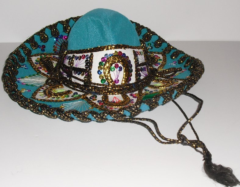 Vtg JU-LA PIGALLE SOMBRERO hat colorful sequins Mexico