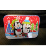 """Christmas Gift Card Holder Tin : Penguins In Forest 4"""" X 2 3/4"""" by Lindy... - $5.89"""