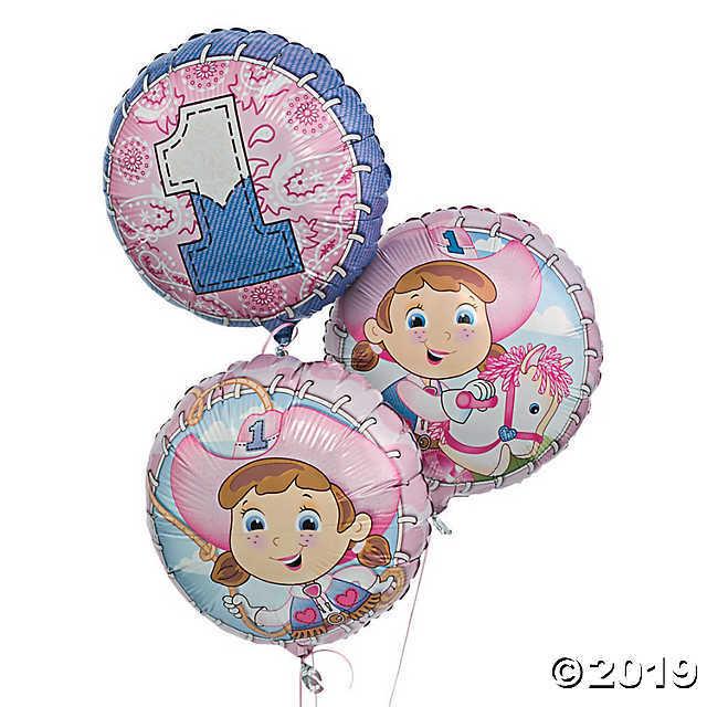 1st Birthday Cowgirl Mylar Balloons  - $7.46