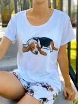 Dog Basset Hound pajama set with shorts for women - $30.00