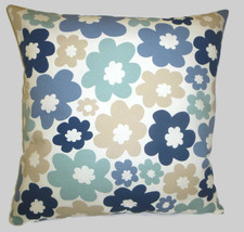 """16"""" Blue Cushion Cover Funky Retro Floral 100% Modern Contemporary Cotton  - $12.62"""