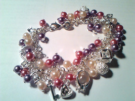 925 Sterling Silver Cluster Bracelet (not plated) and 12 charms with pin... - $50.00