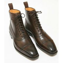 Handmade Men's Brown Leather Two Tone High Ankle Lace Up Boot image 5