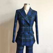 European Brand Runway Designer Blue Plaid Fashion Blazer Pant Suit Set image 7