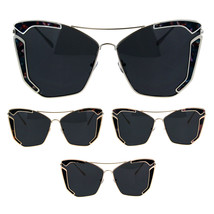 Womens Jewel Futuristic Metal Rim Flat Panel Lens Butterfly Sunglasses - $13.95