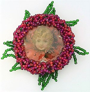 Primary image for Victorian Style Hand Beaded Artistic Brooch 1