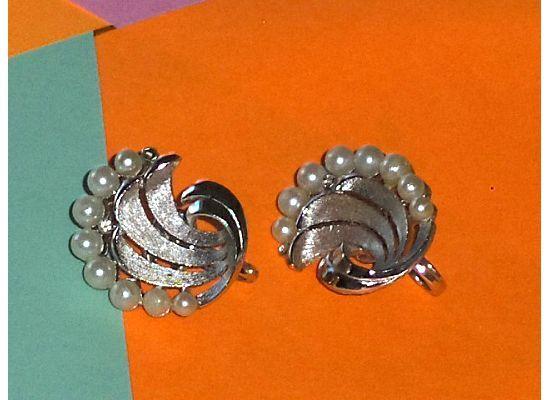 Trifari Faux Pearl Swirl Earrings Clip On