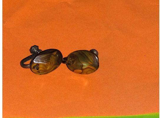 Vintage Abalone Screw Back Earrings