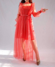 Red Long Tutu Dress Gowns Long Sleeve Vintage Inspired Pink Plaid Pattern image 4
