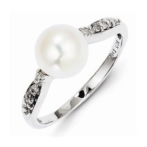 STERLING SILVER FRESHWATER PEARL & DIAMOND RING -  SIZE 8 - $115.65