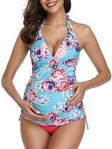 Women Halter Maternity Tankini Swimsuit Floral Pregnancy Plus Size Swimwear - $49.02+