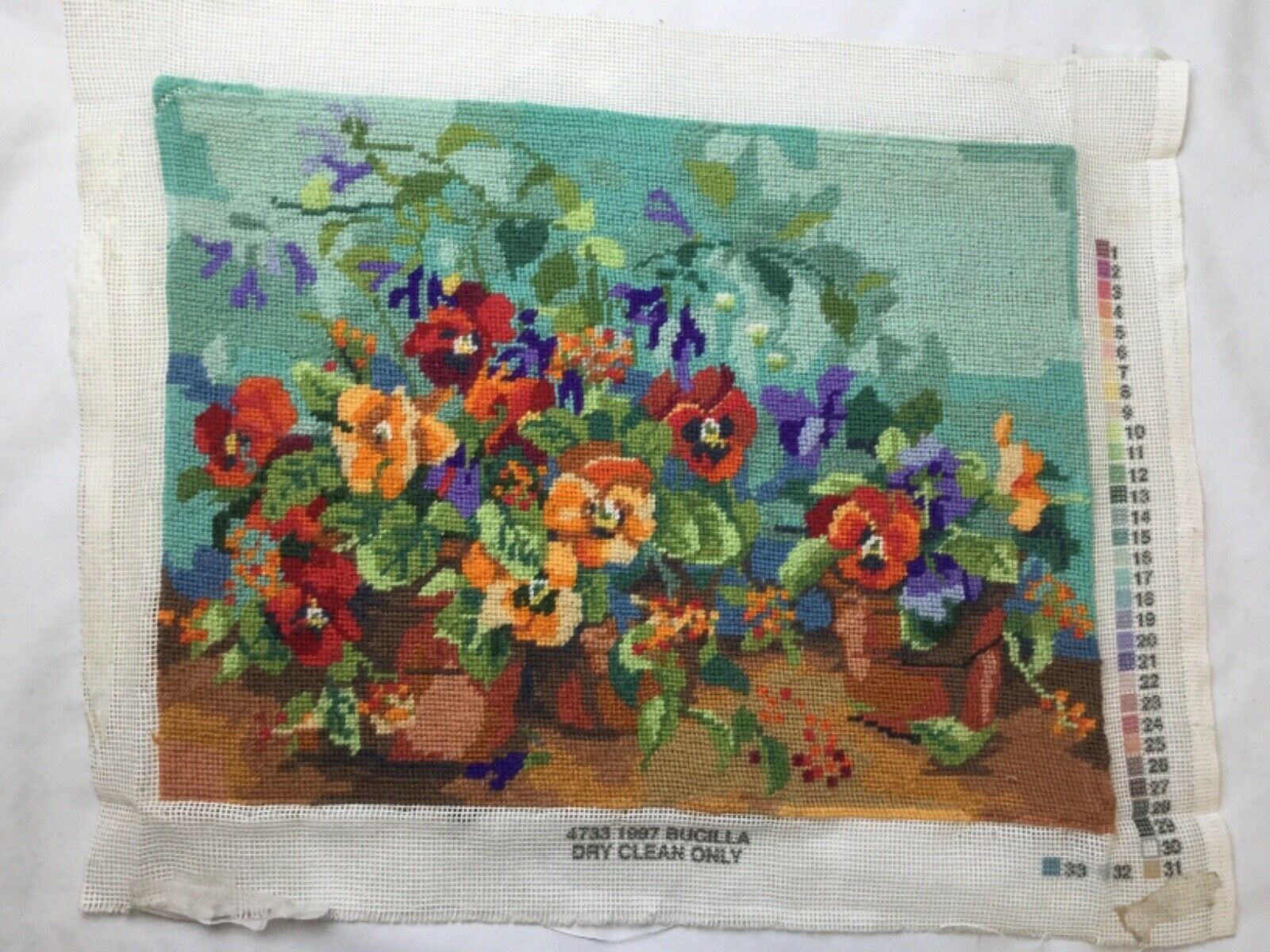 Primary image for Bucilla Nancy Rossi Pansy Passion Needlepoint 4733 completed Finished