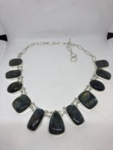 Vintage Green Genuine Labadorite Necklace Choker - $183.15