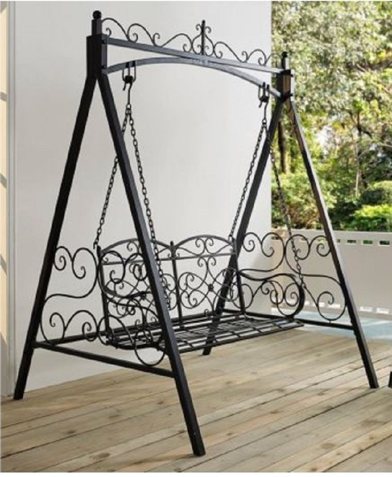 Black 4' Metal Porch Swing w/ Stand Durable Outdoor Swing for Deck Patio Garden
