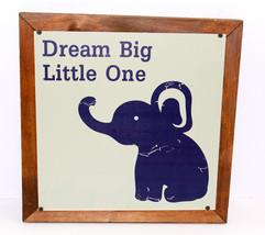 Dream Big Little One-NAVY BLUE with Elephant-Wall Decor-Nursery Ready - $45.59