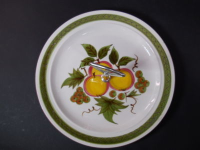 Retro Mid Century Hand Painted Stangl Apple Delight Tidbit Desert One Tier Dish