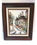 "SIGNED MARCEL BARRAT ""PARIS"" FRENCH STREET SCENE VTG oil painting fall a... - $167.31"