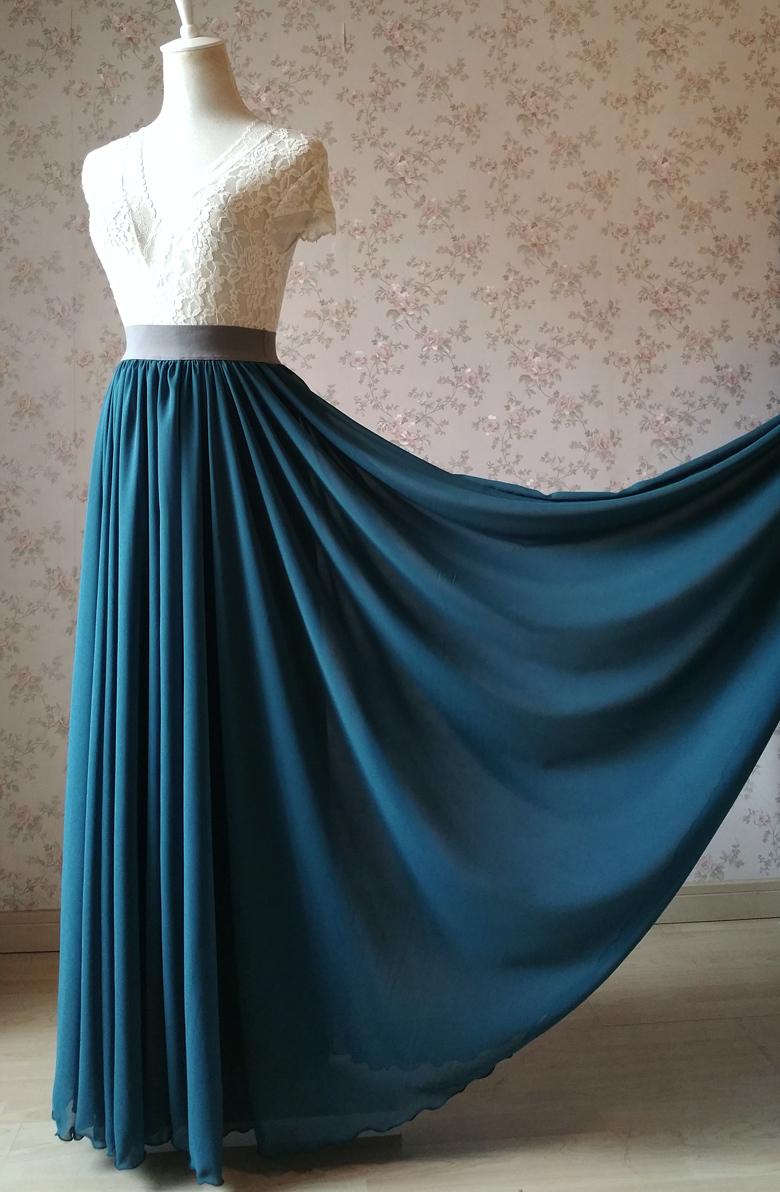 Women maxi chiffon skirt bluegreen 6