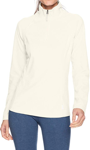 Small 4-6 Women's White Sierra Alpha Beta Quarter Zip II Fleece Pullover Milky
