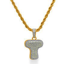 """925 Sterling Silver Gold Plated Custom Iced Out Bubble Letter """"T"""" with 24"""" Chain - $79.99"""