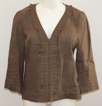 Ann Taylor LOFT Jacket Brown Women's Size 8 Linen Zipper Career 3/4 Sleeve - $17.37