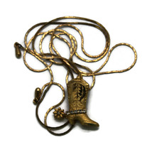 Vintage Gold Fashion Western Cowboy Boot Bolo Tie Necklace Costume Jewelry - $18.66