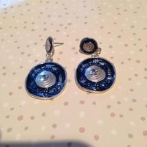blueberry & silver toned dangling pierced earrings - $19.99